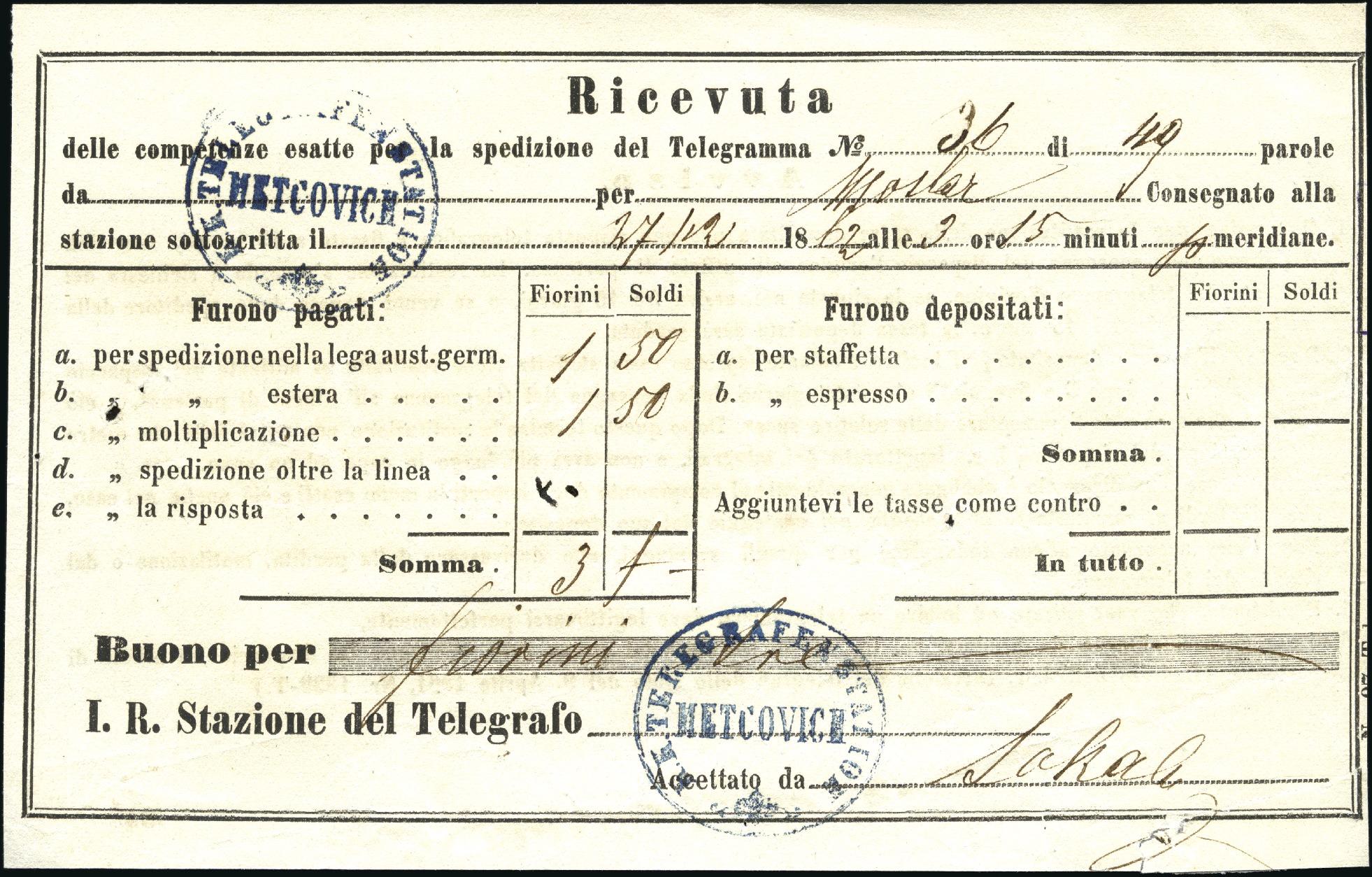 Stamp Auction Croatia Metkovi Metcovich 1862 Dec 27 Telegram