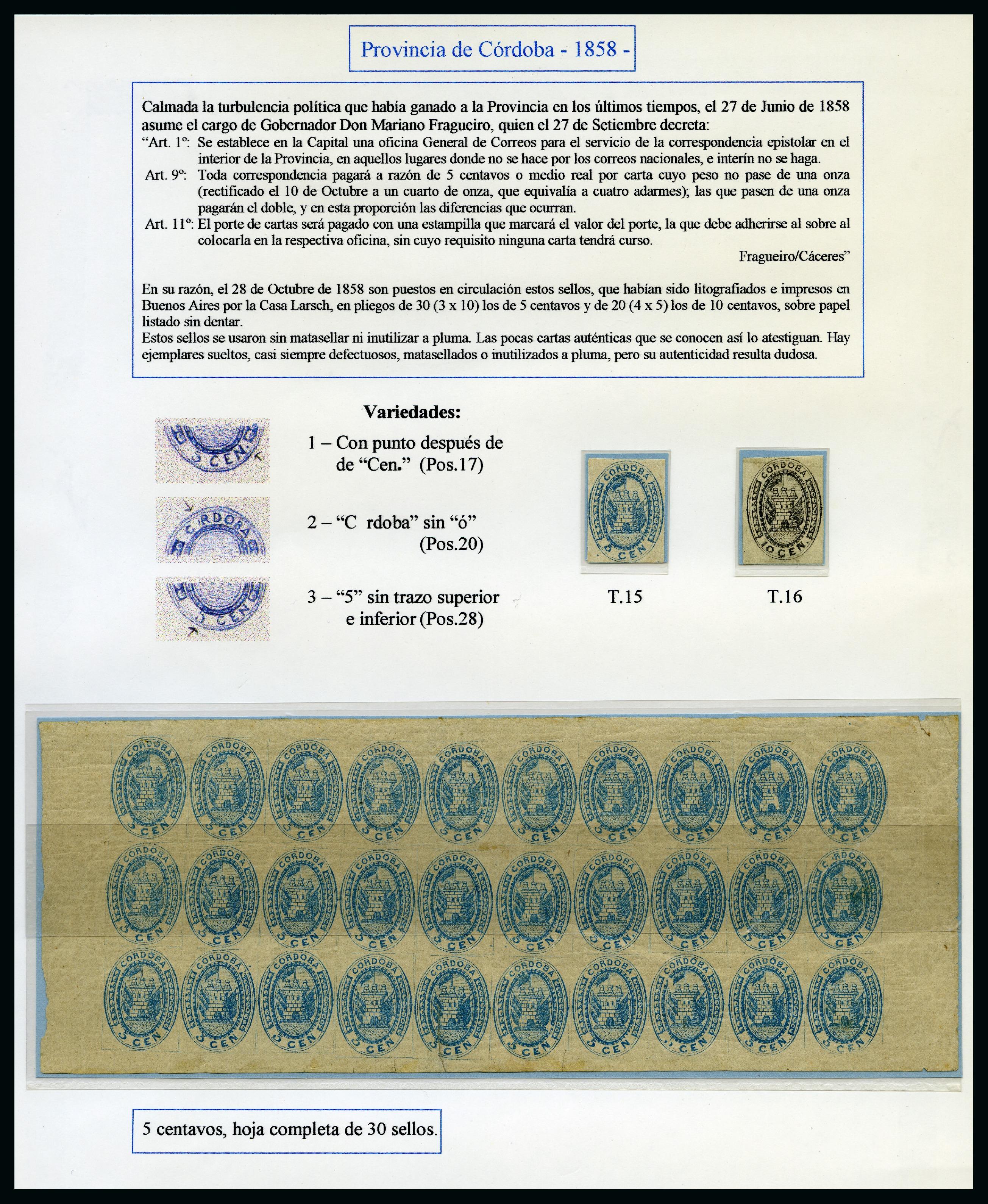 Lot 53009 - Argentina » Cordoba  -  David Feldman S.A. Overseas & Switzerland | Autumn Auction Series day 5